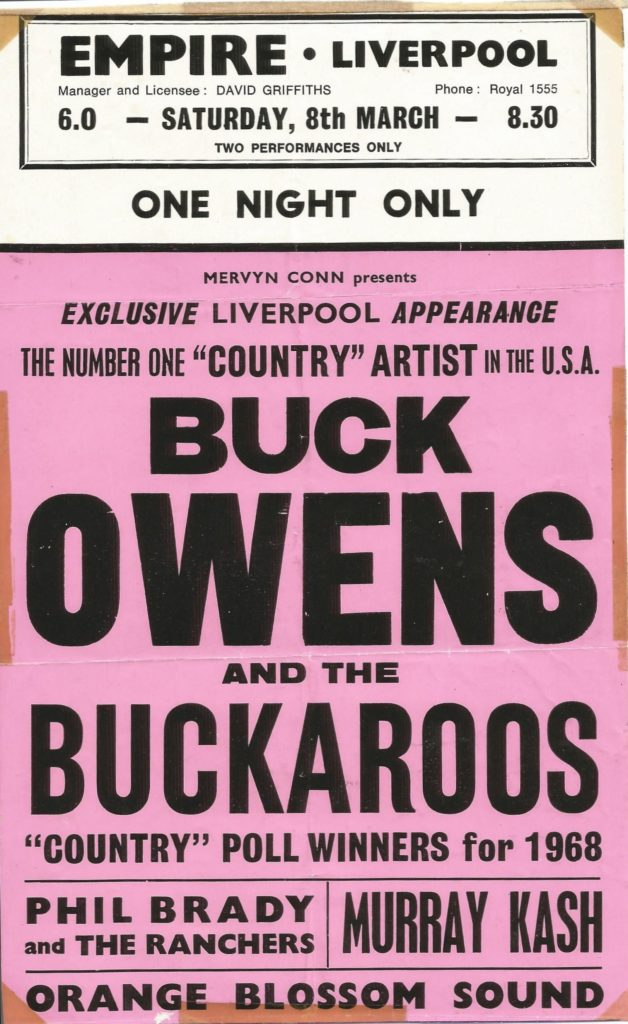 Buck Owens' appearance in Liverpool, supported by Phil Brady