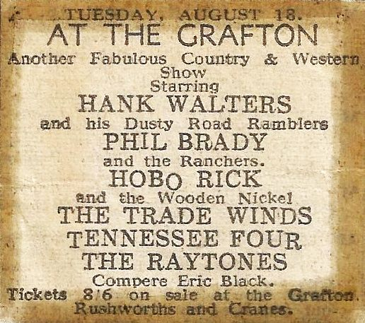 Advert for Hank Walters with Phil Brady on the same bill
