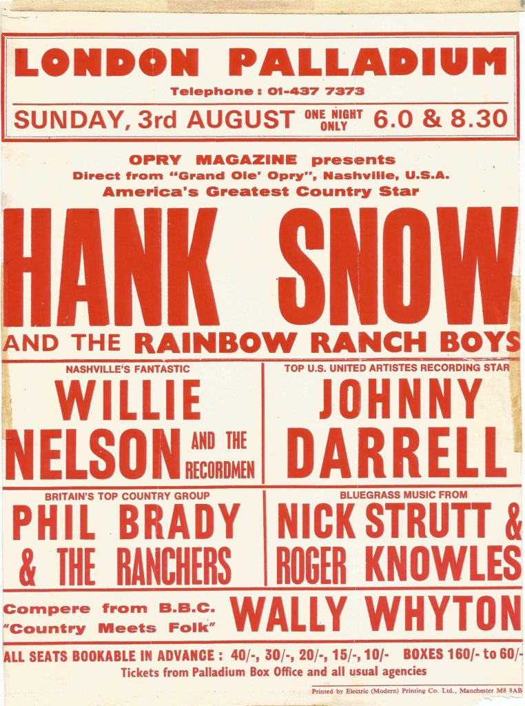 Hank Snow, Willie Nelson supported by Phil Brady and the Ranchers at the London Palladium