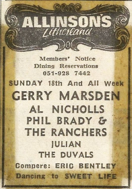 Phil Brady and the Ranchers on the same bill as Gerry Marsden
